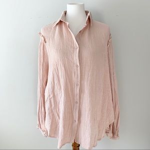 Mittoshop Long Sleeve Collar Light Pink Top